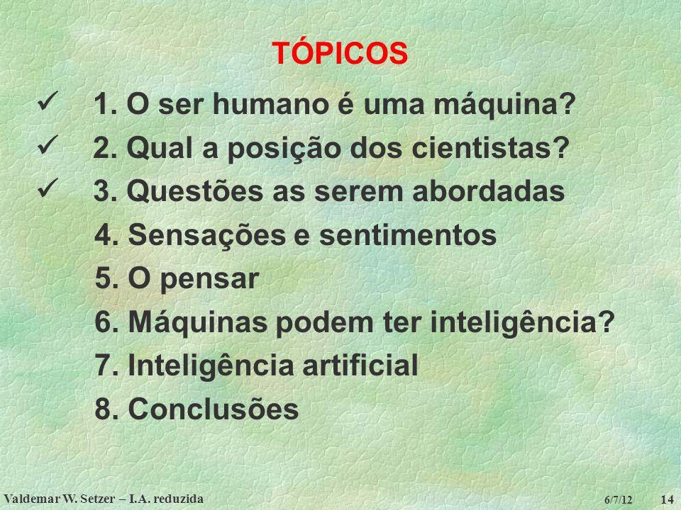Valdemar W. Setzer – I.A. reduzida 14 6/7/12 TÓPICOS 1. O ser humano é uma máquina? 2. Qual a posição dos cientistas? 3. Questões as serem abordadas 4