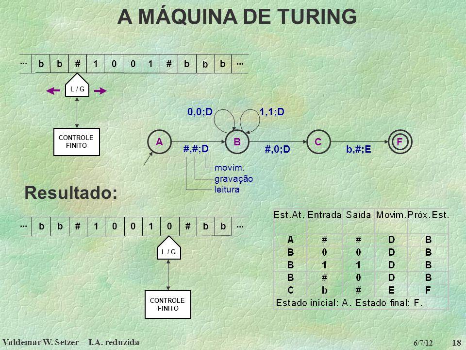 Valdemar W. Setzer – I.A. reduzida 18 6/7/12 A MÁQUINA DE TURING CONTROLE FINITO b10##01... L / G b b... b b Resultado: CONTROLE FINITO b100#01... L /