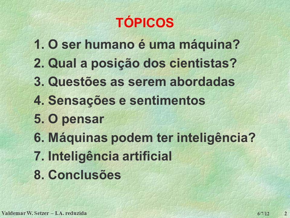 Valdemar W. Setzer – I.A. reduzida 2 6/7/12 TÓPICOS 1. O ser humano é uma máquina? 2. Qual a posição dos cientistas? 3. Questões as serem abordadas 4.