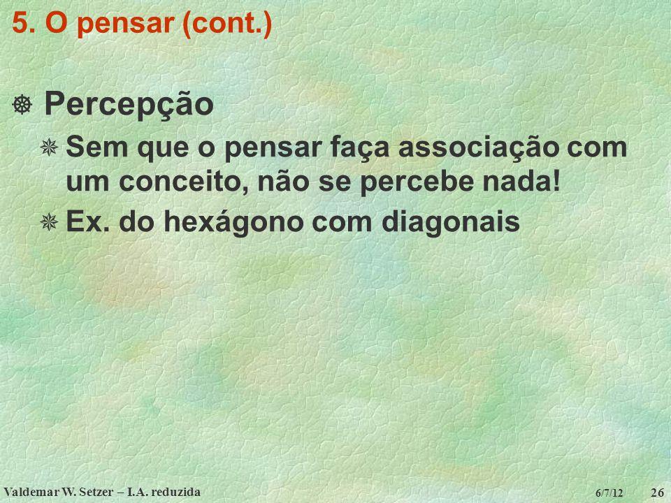 Valdemar W. Setzer – I.A. reduzida 26 6/7/12 5. O pensar (cont.)  Percepção  Sem que o pensar faça associação com um conceito, não se percebe nada!
