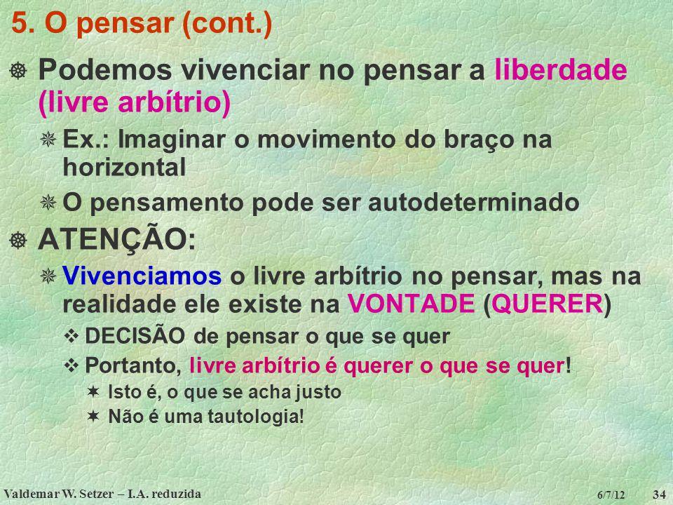 Valdemar W. Setzer – I.A. reduzida 34 6/7/12 5. O pensar (cont.)  Podemos vivenciar no pensar a liberdade (livre arbítrio)  Ex.: Imaginar o moviment