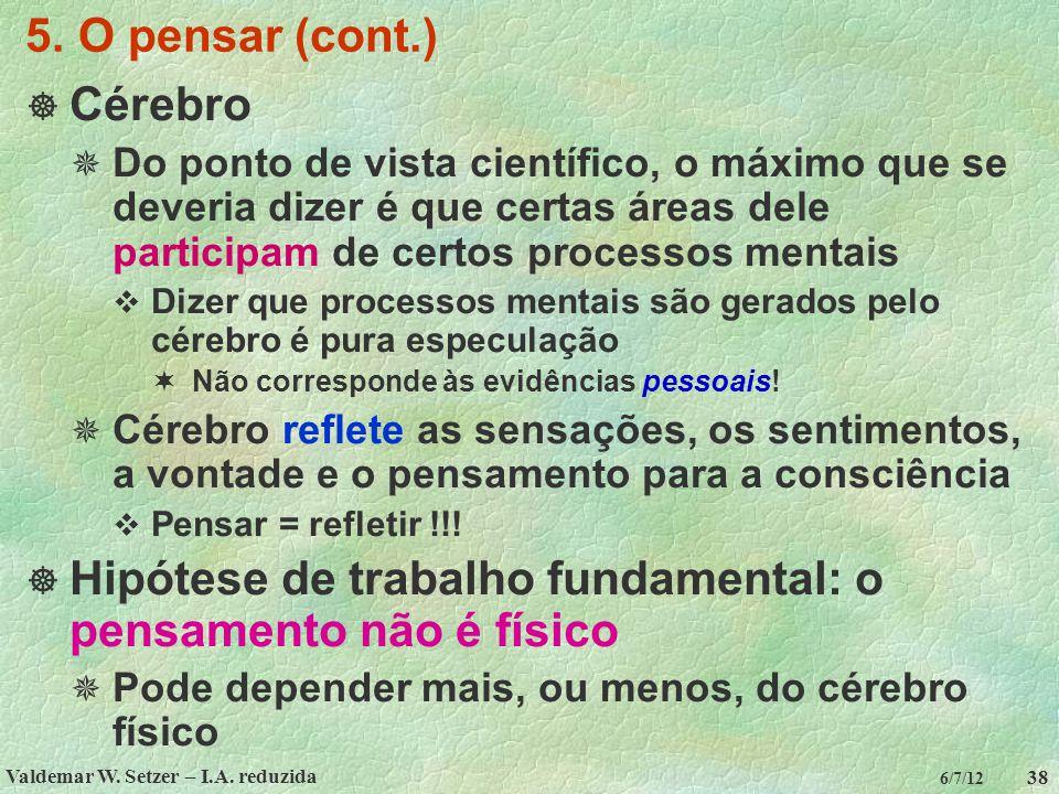 Valdemar W. Setzer – I.A. reduzida 38 6/7/12 5. O pensar (cont.)  Cérebro  Do ponto de vista científico, o máximo que se deveria dizer é que certas