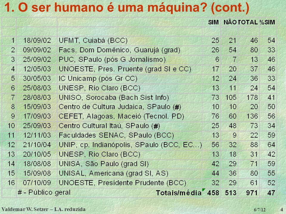 Valdemar W. Setzer – I.A. reduzida 4 6/7/12 1. O ser humano é uma máquina? (cont.)