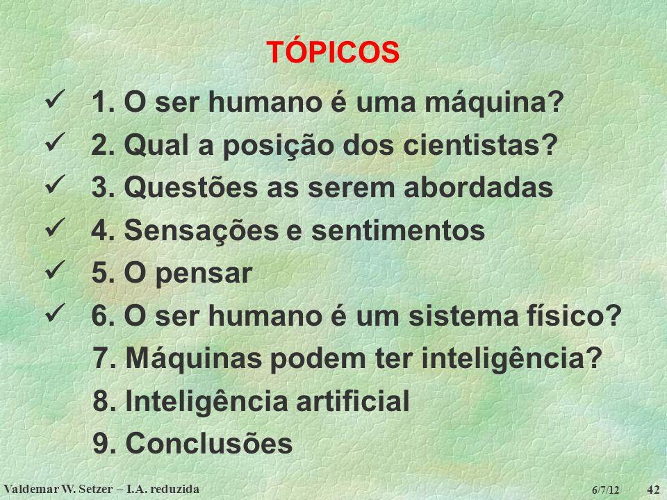 Valdemar W. Setzer – I.A. reduzida 42 6/7/12 TÓPICOS 1. O ser humano é uma máquina? 2. Qual a posição dos cientistas? 3. Questões as serem abordadas 4