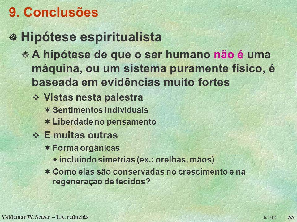 Valdemar W. Setzer – I.A. reduzida 55 6/7/12 9. Conclusões  Hipótese espiritualista  A hipótese de que o ser humano não é uma máquina, ou um sistema