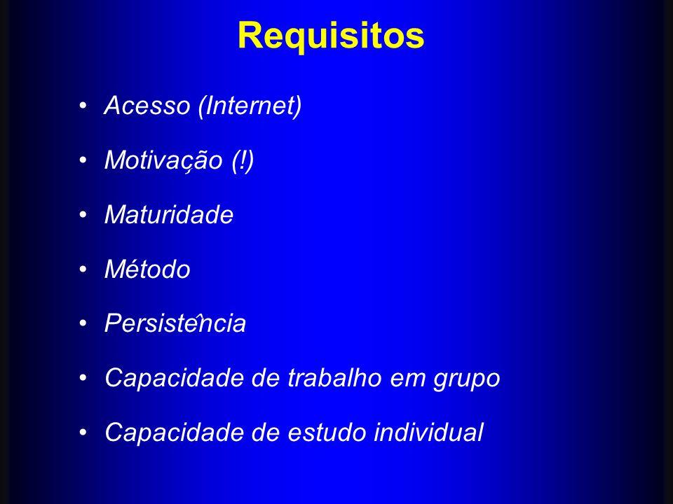 Requisitos Acesso (Internet) Motivac ̧ ão (!) Maturidade Método Persiste ̂ ncia Capacidade de trabalho em grupo Capacidade de estudo individual