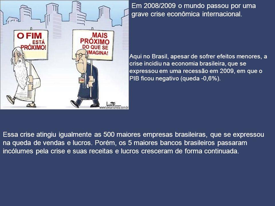 Aqui no Brasil, apesar de sofrer efeitos menores, a crise incidiu na economia brasileira, que se expressou em uma recessão em 2009, em que o PIB ficou negativo (queda -0,6%).
