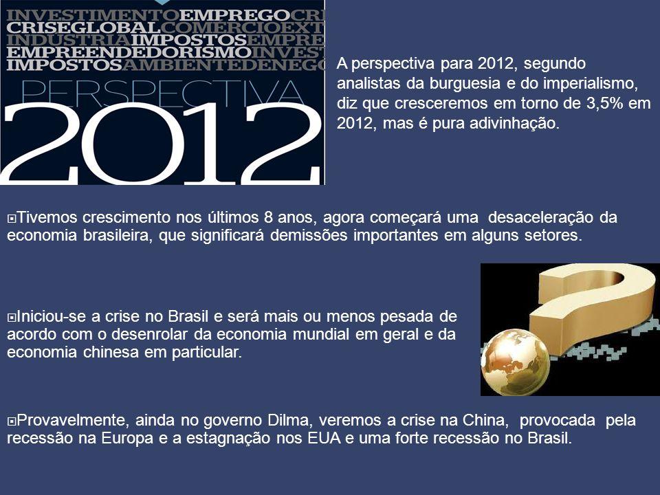 A perspectiva para 2012, segundo analistas da burguesia e do imperialismo, diz que cresceremos em torno de 3,5% em 2012, mas é pura adivinhação.  Tiv