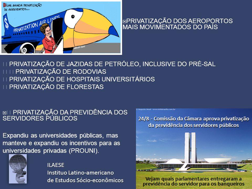 ILAESE Instituo Latino-americano de Estudos Sócio-econômicos  PRIVATIZAÇÃO DOS AEROPORTOS MAIS MOVIMENTADOS DO PAÍS   PRIVATIZAÇÃO DA PREVIDÊNCIA DOS SERVIDORES PÚBLICOS  PRIVATIZAÇÃO DE JAZIDAS DE PETRÓLEO, INCLUSIVE DO PRÉ-SAL   PRIVATIZAÇÃO DE RODOVIAS  PRIVATIZAÇÃO DE HOSPITAIS UNIVERSITÁRIOS  PRIVATIZAÇÃO DE FLORESTAS Expandiu as universidades públicas, mas manteve e expandiu os incentivos para as universidades privadas (PROUNI).