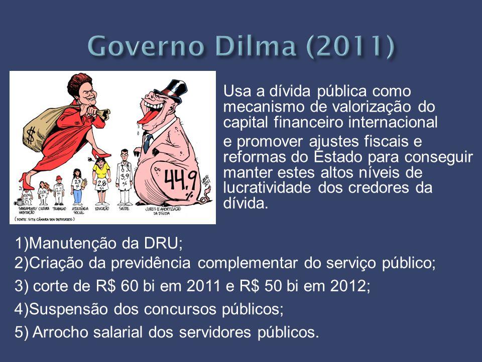 Usa a dívida pública como mecanismo de valorização do capital financeiro internacional e promover ajustes fiscais e reformas do Estado para conseguir manter estes altos níveis de lucratividade dos credores da dívida.