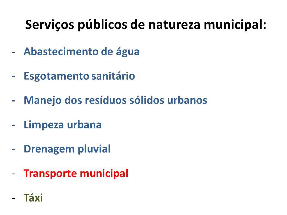 Serviços públicos de natureza municipal: - Abastecimento de água - Esgotamento sanitário - Manejo dos resíduos sólidos urbanos - Limpeza urbana - Drenagem pluvial - Transporte municipal - Táxi