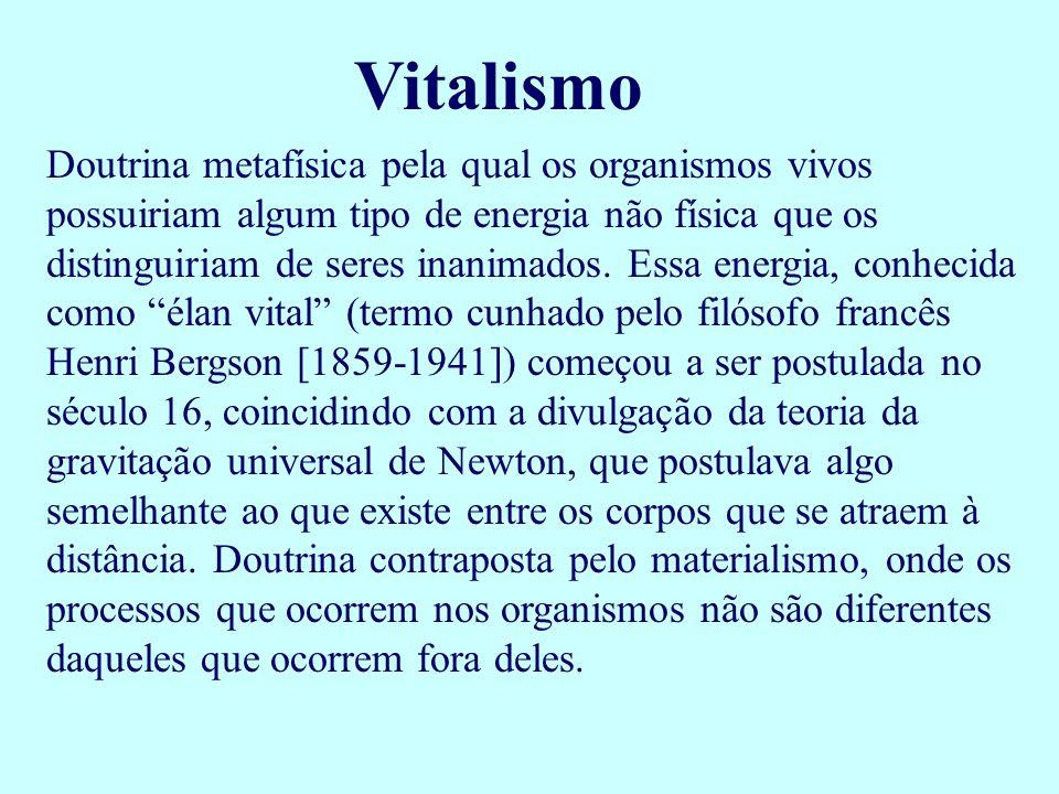 Vitalismo Doutrina metafísica pela qual os organismos vivos possuiriam algum tipo de energia não física que os distinguiriam de seres inanimados. Essa