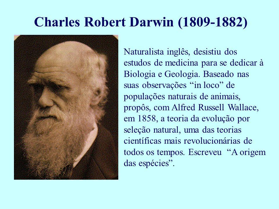 Charles Robert Darwin (1809-1882) Naturalista inglês, desistiu dos estudos de medicina para se dedicar à Biologia e Geologia. Baseado nas suas observa