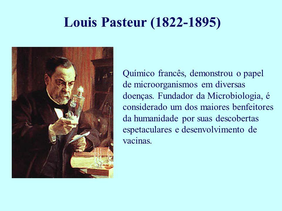 Louis Pasteur (1822-1895) Químico francês, demonstrou o papel de microorganismos em diversas doenças. Fundador da Microbiologia, é considerado um dos