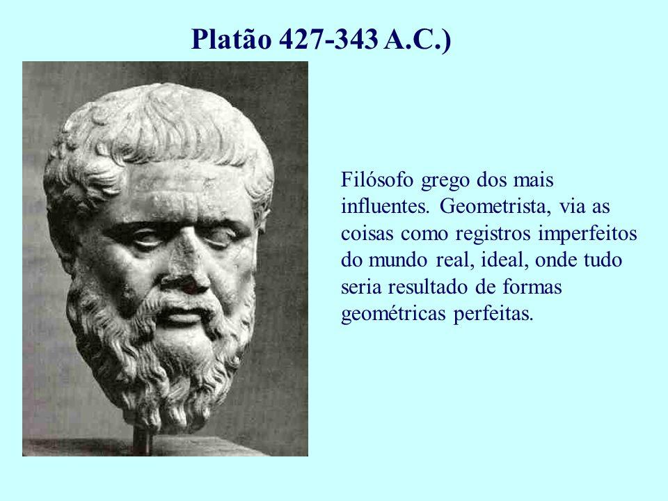 Platão 427-343 A.C.) Filósofo grego dos mais influentes. Geometrista, via as coisas como registros imperfeitos do mundo real, ideal, onde tudo seria r