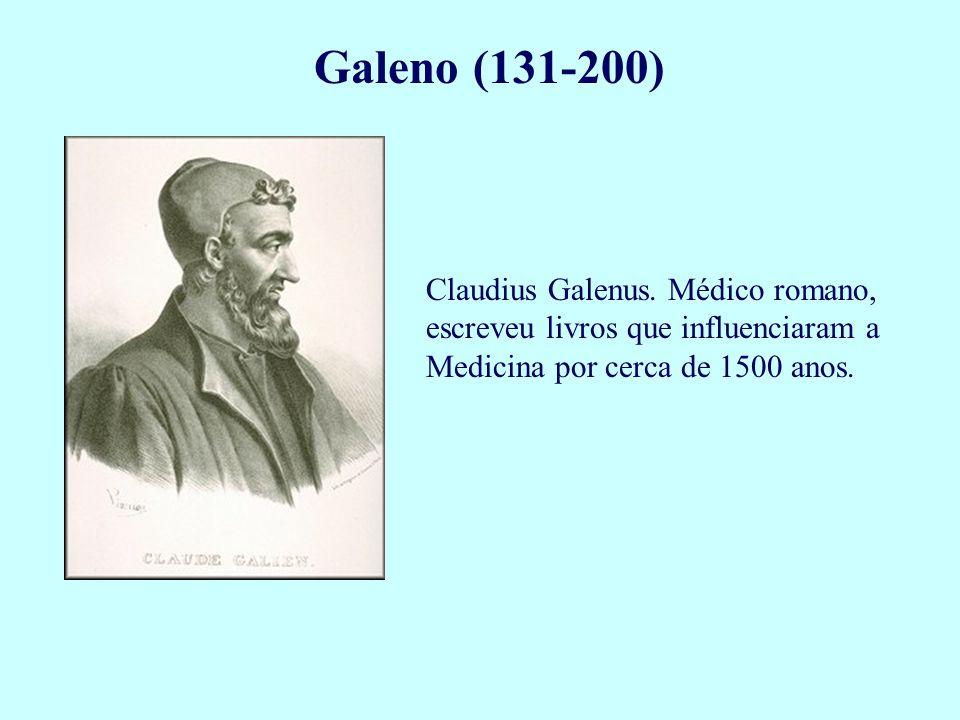 Galeno (131-200) Claudius Galenus. Médico romano, escreveu livros que influenciaram a Medicina por cerca de 1500 anos.