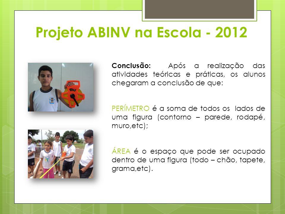 Projeto ABINV na Escola - 2012 Conclusão: Após a realização das atividades teóricas e práticas, os alunos chegaram a conclusão de que: PERÍMETRO é a s