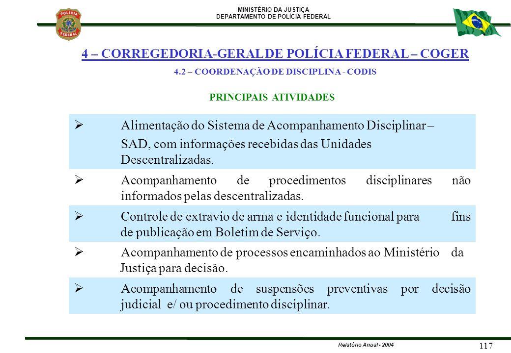MINISTÉRIO DA JUSTIÇA DEPARTAMENTO DE POLÍCIA FEDERAL Relatório Anual - 2004 117 PRINCIPAIS ATIVIDADES  Alimentação do Sistema de Acompanhamento Disc