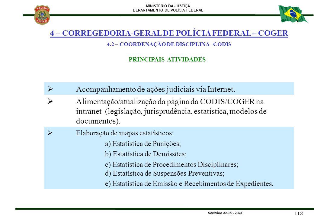 MINISTÉRIO DA JUSTIÇA DEPARTAMENTO DE POLÍCIA FEDERAL Relatório Anual - 2004 118  Acompanhamento de ações judiciais via Internet.  Alimentação/atual