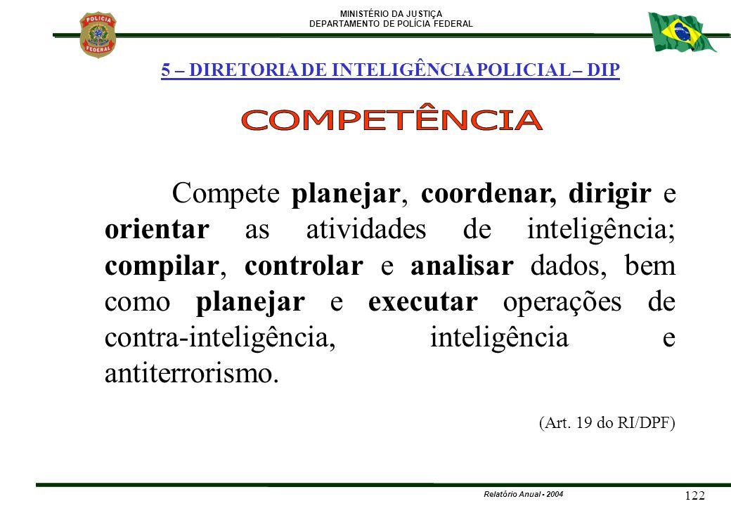 MINISTÉRIO DA JUSTIÇA DEPARTAMENTO DE POLÍCIA FEDERAL Relatório Anual - 2004 122 5 – DIRETORIA DE INTELIGÊNCIA POLICIAL – DIP Compete planejar, coorde