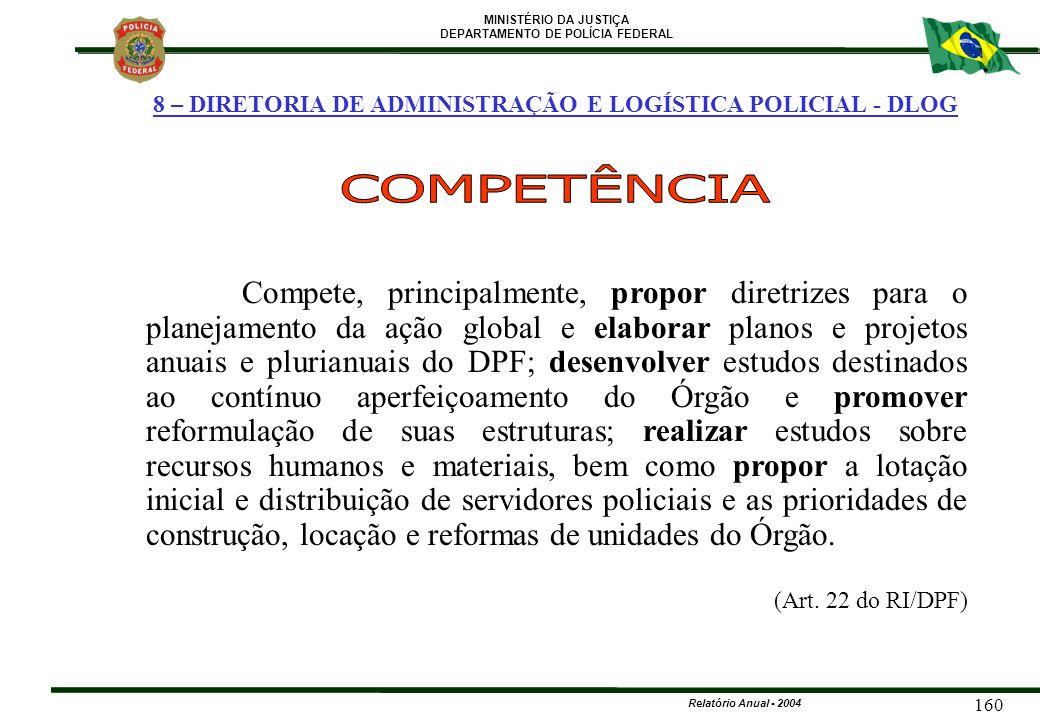 MINISTÉRIO DA JUSTIÇA DEPARTAMENTO DE POLÍCIA FEDERAL Relatório Anual - 2004 160 8 – DIRETORIA DE ADMINISTRAÇÃO E LOGÍSTICA POLICIAL - DLOG Compete, p