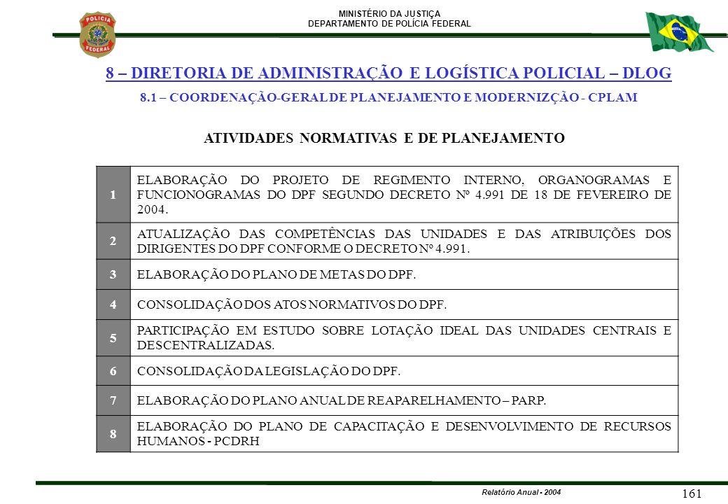 MINISTÉRIO DA JUSTIÇA DEPARTAMENTO DE POLÍCIA FEDERAL Relatório Anual - 2004 161 1 ELABORAÇÃO DO PROJETO DE REGIMENTO INTERNO, ORGANOGRAMAS E FUNCIONO