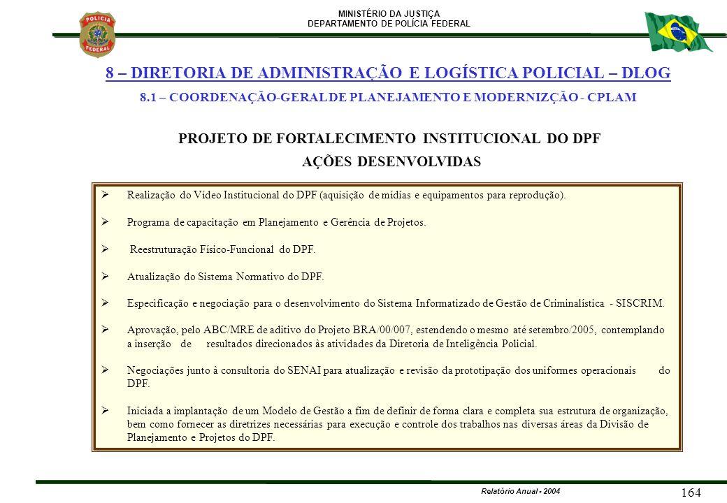 MINISTÉRIO DA JUSTIÇA DEPARTAMENTO DE POLÍCIA FEDERAL Relatório Anual - 2004 164   Realização do Vídeo Institucional do DPF (aquisição de mídias e e