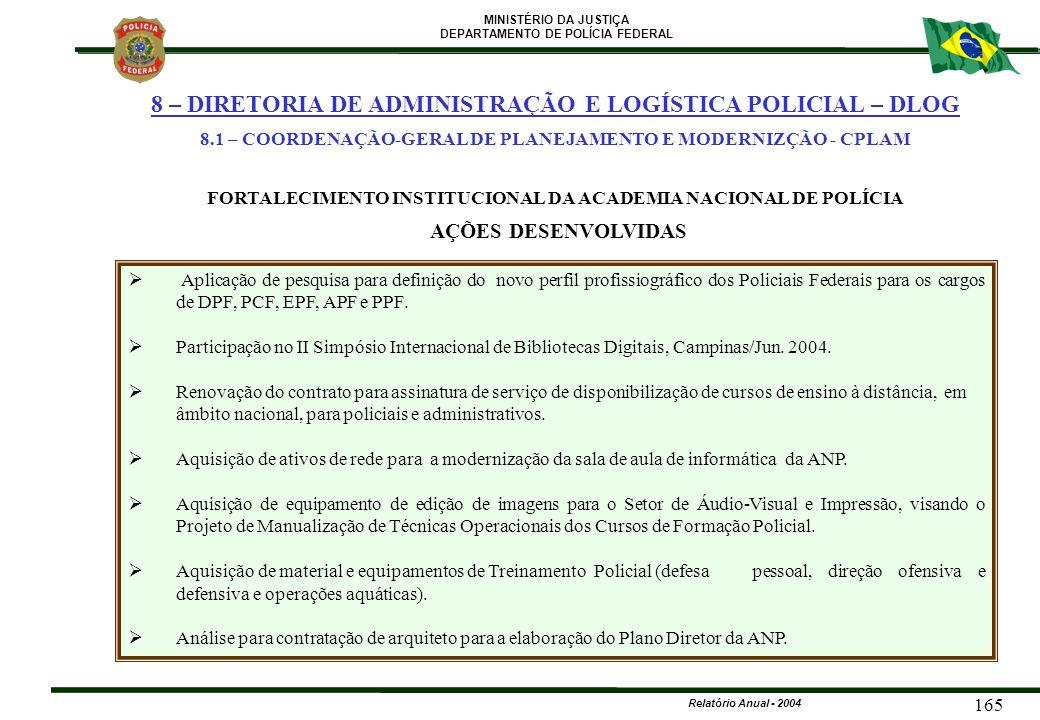 MINISTÉRIO DA JUSTIÇA DEPARTAMENTO DE POLÍCIA FEDERAL Relatório Anual - 2004 165   Aplicação de pesquisa para definição do novo perfil profissiográf