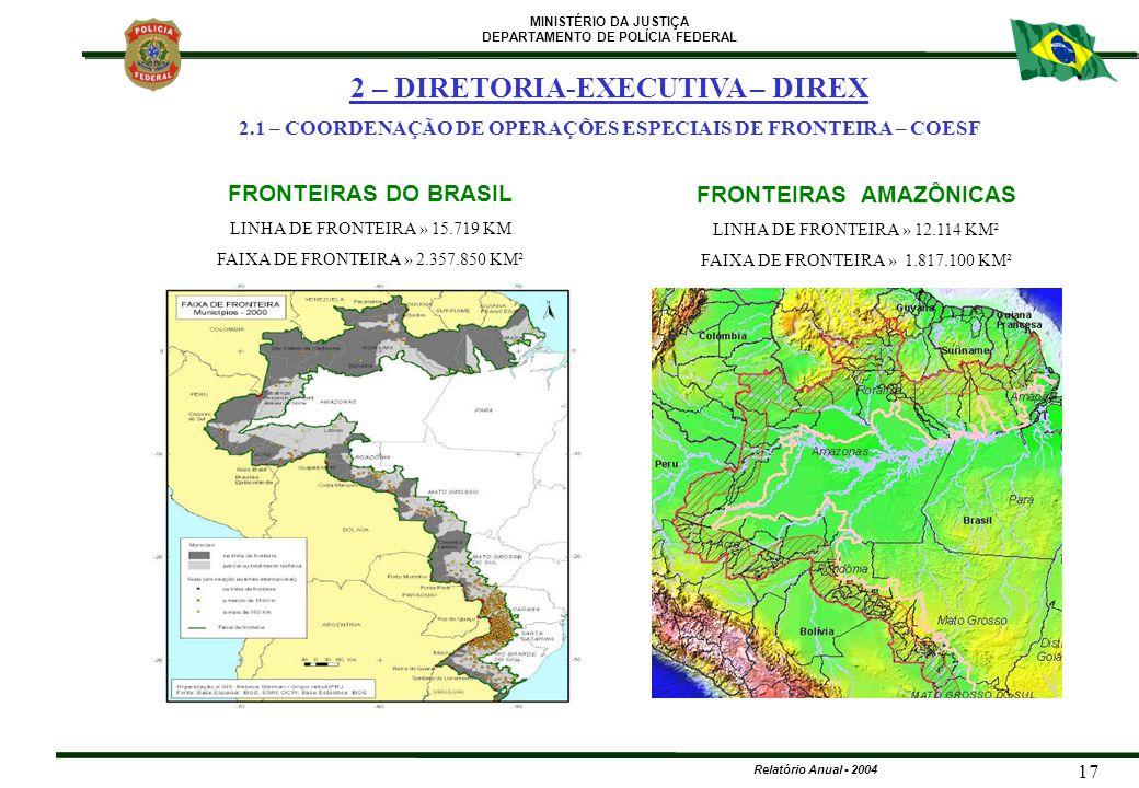 MINISTÉRIO DA JUSTIÇA DEPARTAMENTO DE POLÍCIA FEDERAL Relatório Anual - 2004 17 FRONTEIRAS DO BRASIL LINHA DE FRONTEIRA » 15.719 KM FAIXA DE FRONTEIRA