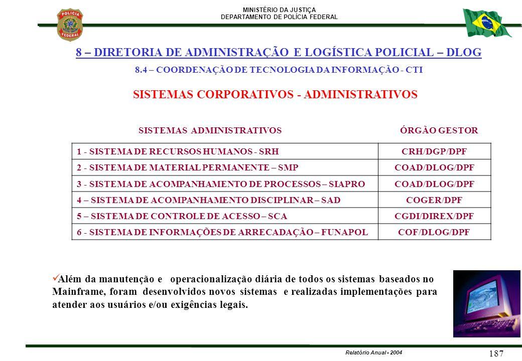 MINISTÉRIO DA JUSTIÇA DEPARTAMENTO DE POLÍCIA FEDERAL Relatório Anual - 2004 187 SISTEMAS CORPORATIVOS - ADMINISTRATIVOS Além da manutenção e operacio