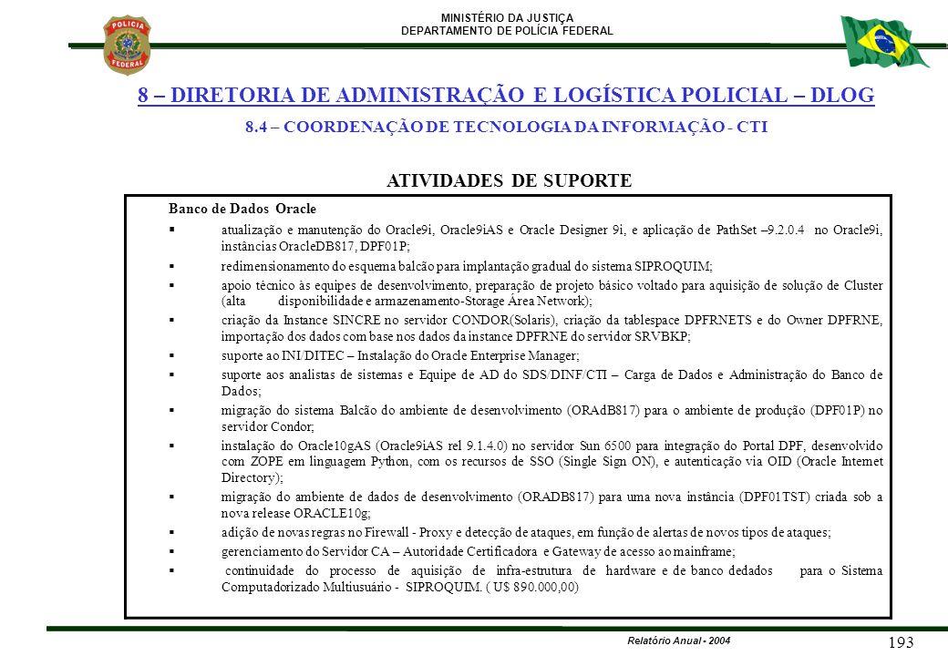 MINISTÉRIO DA JUSTIÇA DEPARTAMENTO DE POLÍCIA FEDERAL Relatório Anual - 2004 193 Banco de Dados Oracle  atualização e manutenção do Oracle9i, Oracle9