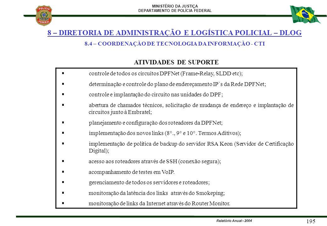MINISTÉRIO DA JUSTIÇA DEPARTAMENTO DE POLÍCIA FEDERAL Relatório Anual - 2004 195  controle de todos os circuitos DPFNet (Frame-Relay, SLDD etc);  de