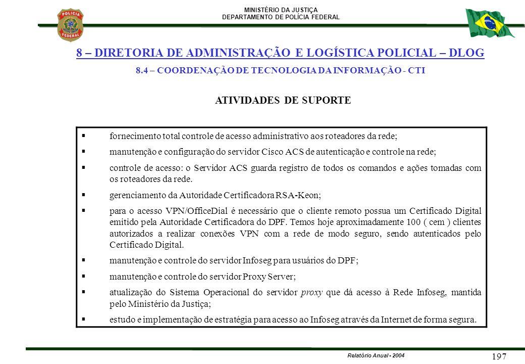 MINISTÉRIO DA JUSTIÇA DEPARTAMENTO DE POLÍCIA FEDERAL Relatório Anual - 2004 197  fornecimento total controle de acesso administrativo aos roteadores