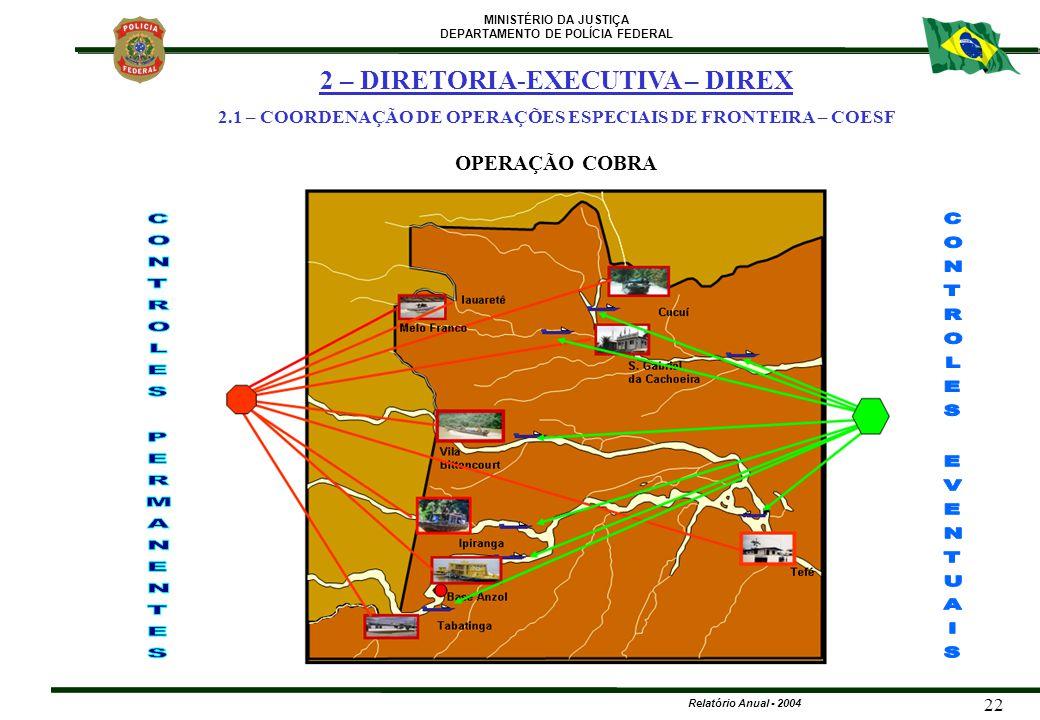 MINISTÉRIO DA JUSTIÇA DEPARTAMENTO DE POLÍCIA FEDERAL Relatório Anual - 2004 22 OPERAÇÃO COBRA 2 – DIRETORIA-EXECUTIVA – DIREX 2.1 – COORDENAÇÃO DE OP