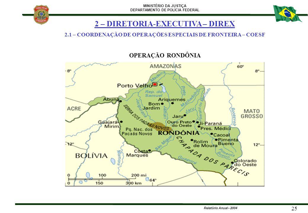 MINISTÉRIO DA JUSTIÇA DEPARTAMENTO DE POLÍCIA FEDERAL Relatório Anual - 2004 25 2 – DIRETORIA-EXECUTIVA – DIREX 2.1 – COORDENAÇÃO DE OPERAÇÕES ESPECIA