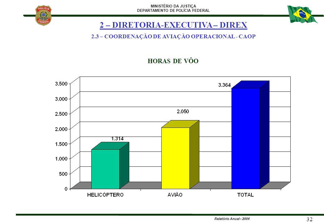 MINISTÉRIO DA JUSTIÇA DEPARTAMENTO DE POLÍCIA FEDERAL Relatório Anual - 2004 32 HORAS DE VÔO 2 – DIRETORIA-EXECUTIVA – DIREX 2.3 – COORDENAÇÃO DE AVIA