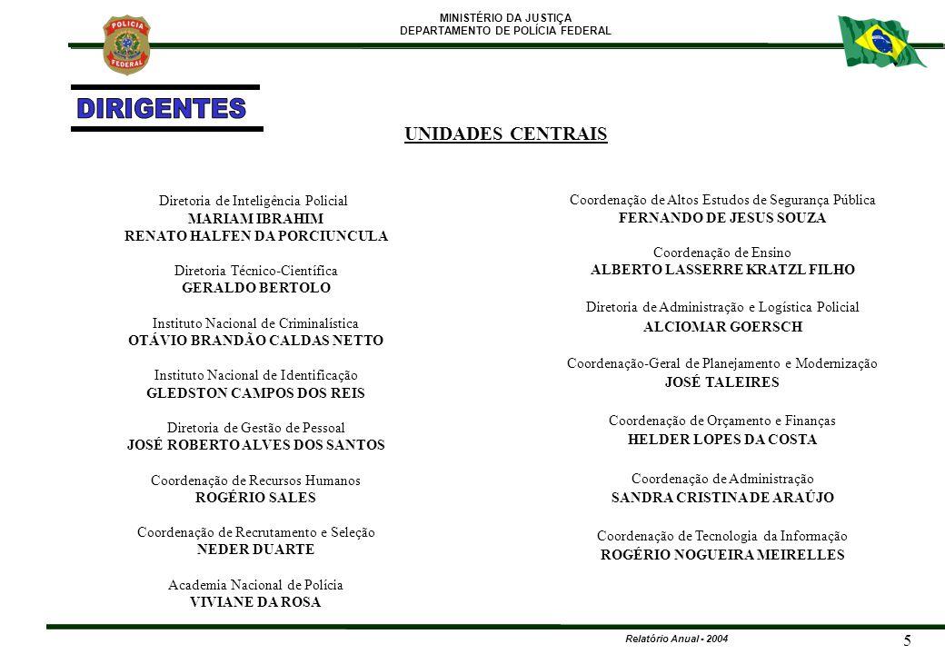 MINISTÉRIO DA JUSTIÇA DEPARTAMENTO DE POLÍCIA FEDERAL Relatório Anual - 2004 116 ANOQUANTIDADELOCAL 2001 04RJ, BA, DCOIE e DF.