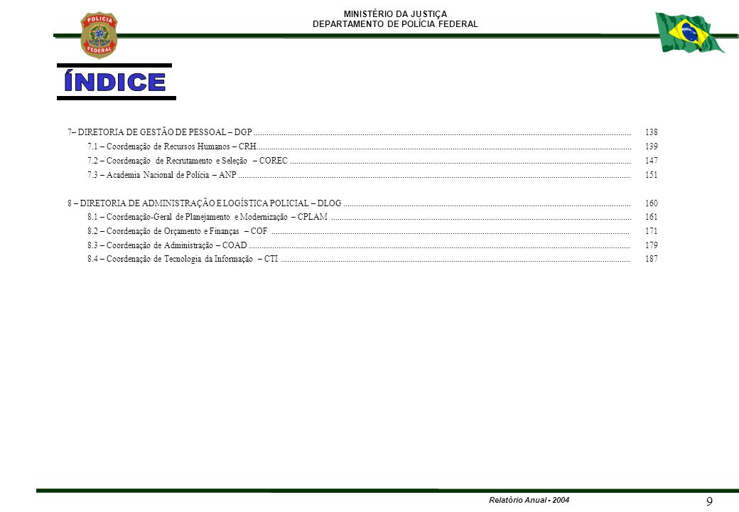 MINISTÉRIO DA JUSTIÇA DEPARTAMENTO DE POLÍCIA FEDERAL Relatório Anual - 2004 140 CARREIRA POLICIAL (ATIVO) CARGO199920002001200220032004 DPF 742 737 730 9001.1031.218 PCF 284 278 267 344 432 444 EPF1.0201.0761.0661.0471.2641.392 APF4.8094.7694.6624.8704.5985.043 PPF 196 192 190 133 163 TOTAL7.0517.0526.9157.3517.5308.260 7 – DIRETORIA DE GESTÃO DE PESSOAL – DGP 7.1 - COORDENAÇÃO DE RECURSOS HUMANOS - CRH