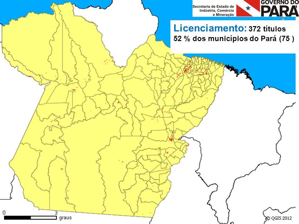 Licenciamento: 372 títulos 52 % dos municípios do Pará (75 )