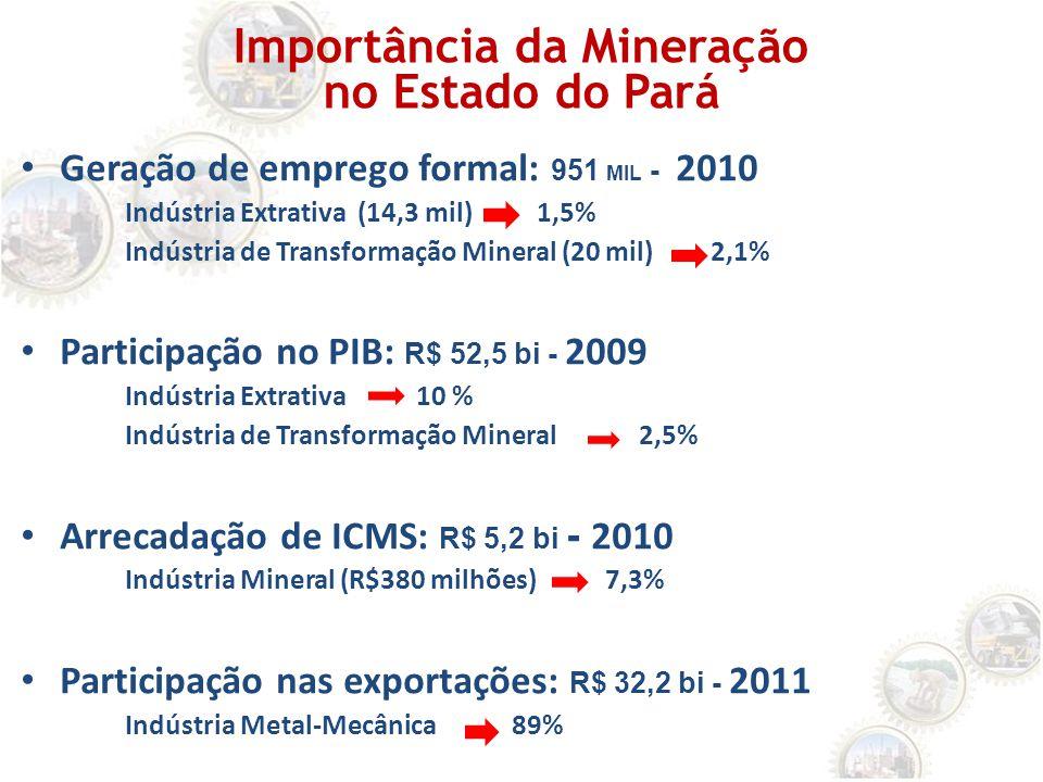 Geração de emprego formal: 951 MIL - 2010 Indústria Extrativa (14,3 mil) 1,5% Indústria de Transformação Mineral (20 mil) 2,1% Participação no PIB: R$