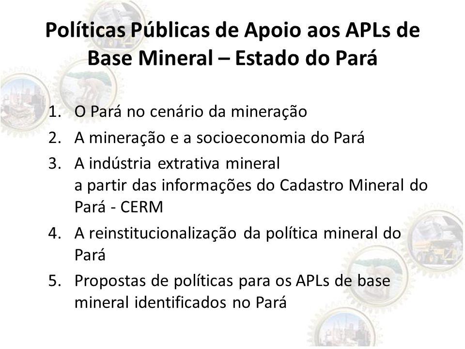 Políticas Públicas de Apoio aos APLs de Base Mineral – Estado do Pará 1.O Pará no cenário da mineração 2.A mineração e a socioeconomia do Pará 3.A ind