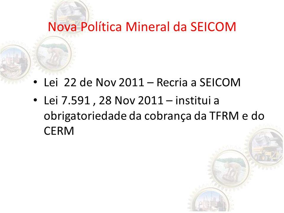 Nova Política Mineral da SEICOM Lei 22 de Nov 2011 – Recria a SEICOM Lei 7.591, 28 Nov 2011 – institui a obrigatoriedade da cobrança da TFRM e do CERM