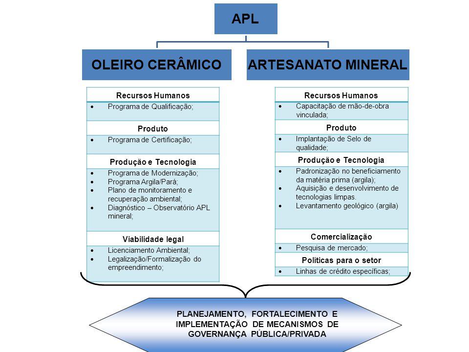 APL OLEIRO CERÂMICOARTESANATO MINERAL Recursos Humanos  Programa de Qualificação; Produto  Programa de Certificação; Produção e Tecnologia  Program