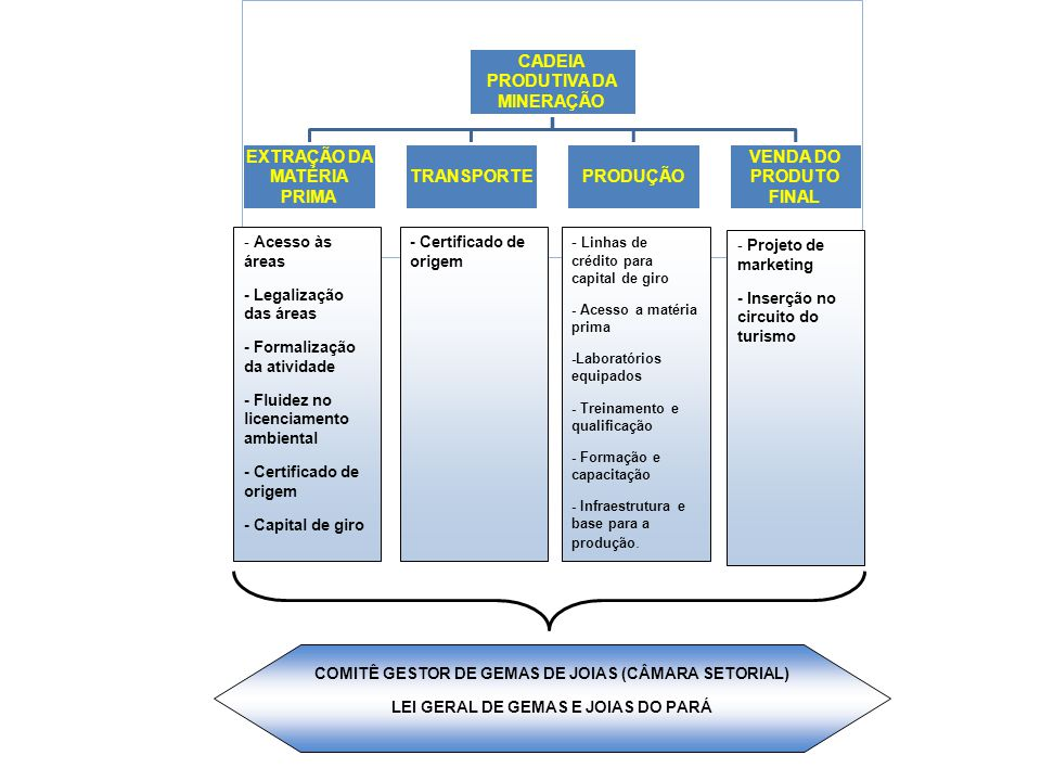 CADEIA PRODUTIVA DA MINERAÇÃO EXTRAÇÃO DA MATÉRIA PRIMA TRANSPORTEPRODUÇÃO VENDA DO PRODUTO FINAL - Acesso às áreas - Legalização das áreas - Formaliz