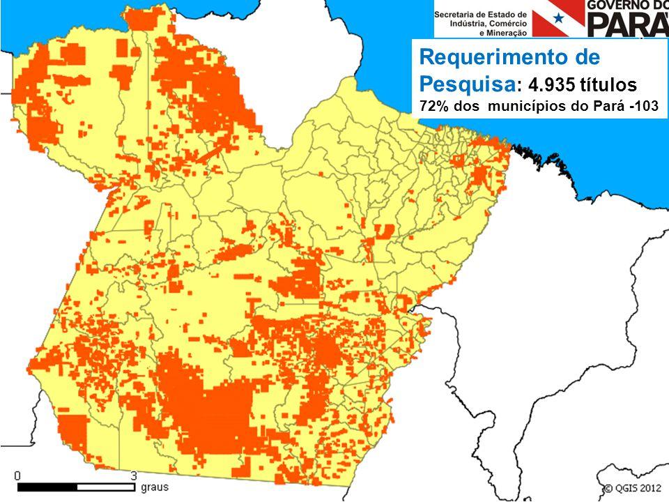 Requerimento de Pesquisa : 4.935 títulos 72% dos municípios do Pará -103