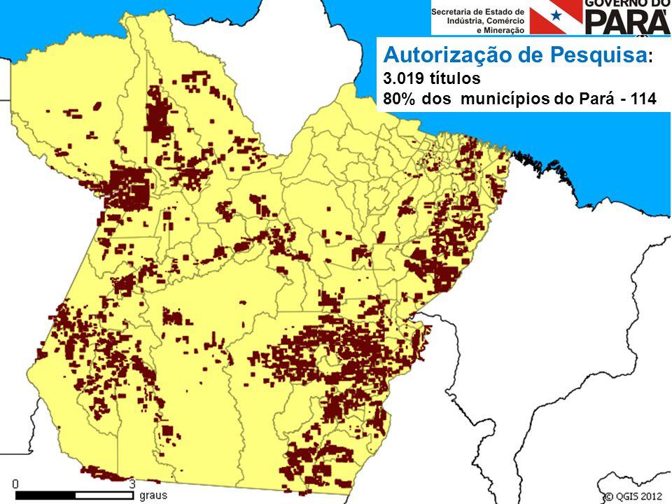 Autorização de Pesquisa : 3.019 títulos 80% dos municípios do Pará - 114
