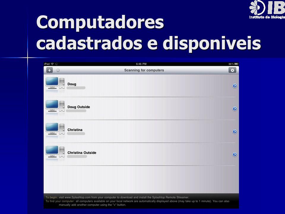 Computadores cadastrados e disponiveis