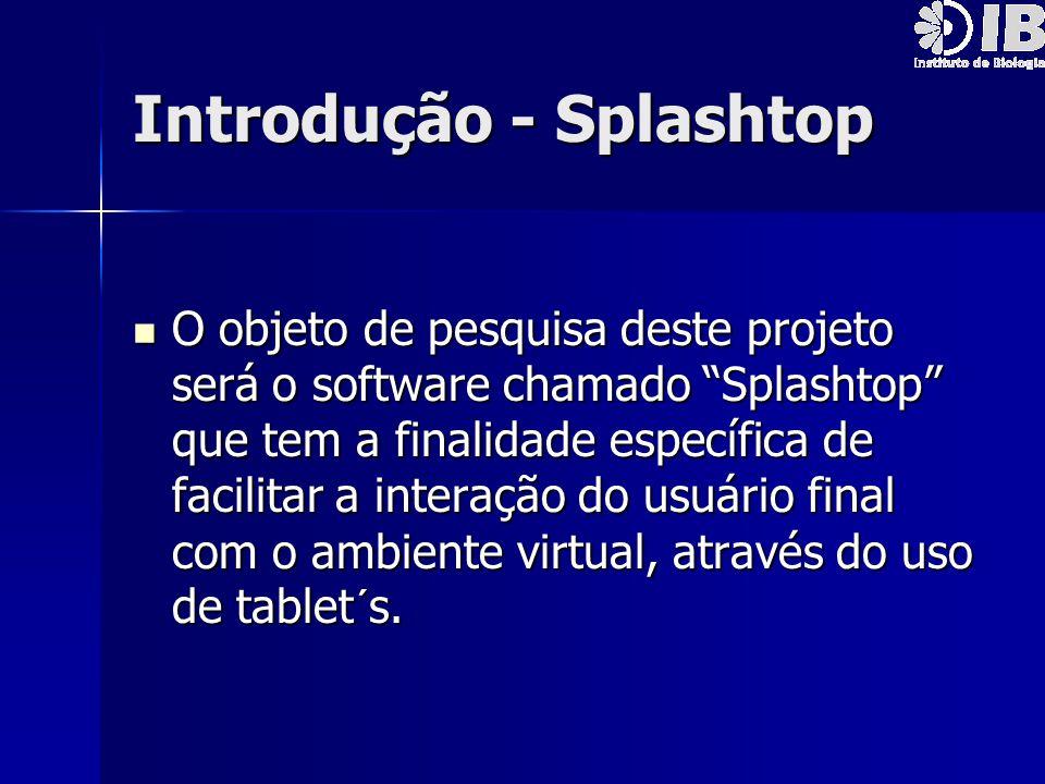 """Introdução - Splashtop O objeto de pesquisa deste projeto será o software chamado """"Splashtop"""" que tem a finalidade específica de facilitar a interação"""