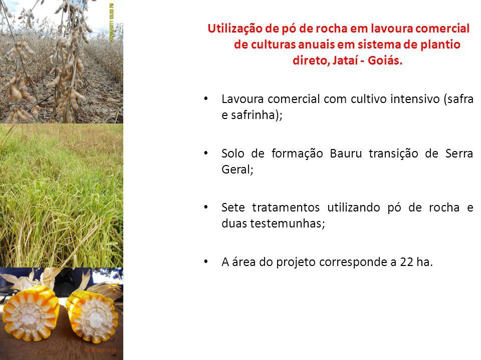 Utilização de pó de rocha em lavoura comercial de culturas anuais em sistema de plantio direto, Jataí - Goiás. Lavoura comercial com cultivo intensivo