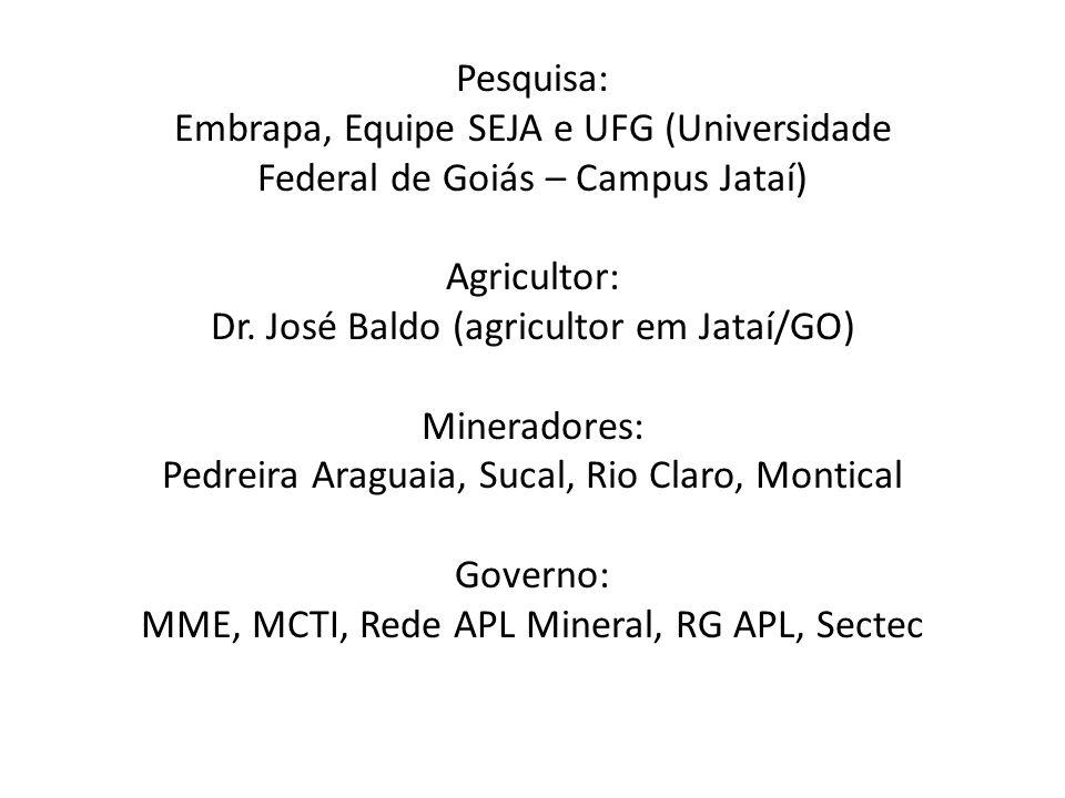 Pesquisa: Embrapa, Equipe SEJA e UFG (Universidade Federal de Goiás – Campus Jataí) Agricultor: Dr. José Baldo (agricultor em Jataí/GO) Mineradores: P